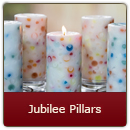 Happy Jubilee Pillar Candle - Happy Jubilee Pillar Candle. A delicate blend of perfume fragrances to conjure thoughts of that special someone.