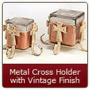 Metal Candle Holder Cross Vintage Finish Small - Small Cross Candle Holder Vintage Finish