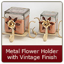 Metal Candle Holder Flower Vintage Finish Small - Small Metal Candle Holder Flower Vintage Finish