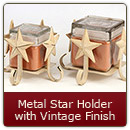 Metal Candle Holder Star Vintage Finish Small - Small Star Candle Holder Vintage Finish
